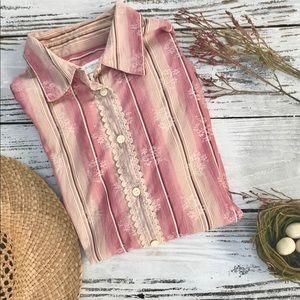 Vintage Liz Clairborne Button Down -Lace Trim